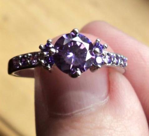 anillo cristales plata