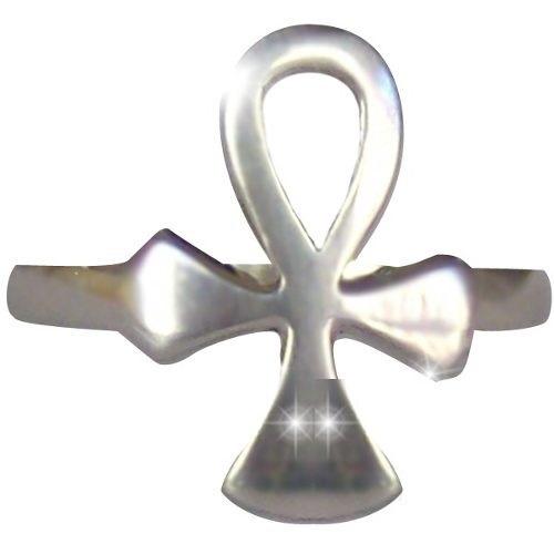 anillo cruz egipcia en fina plata - consagrado para el dueño
