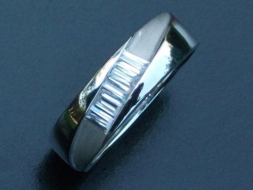 anillo cz argolla con zirconia en plata ley.925 baguette