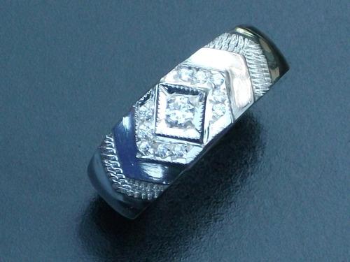 anillo cz argolla con zirconia en plata ley.925 piramide
