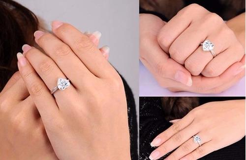 anillo d compromiso d plata d ley en forma d corazón