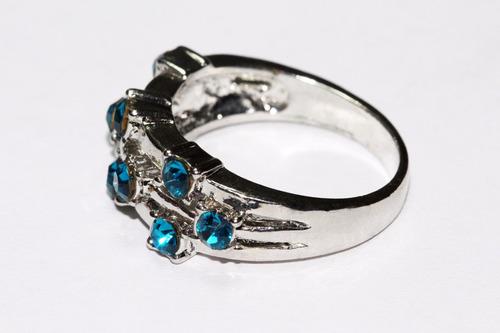 anillo dama mujer acero plateado cristales azules ase221