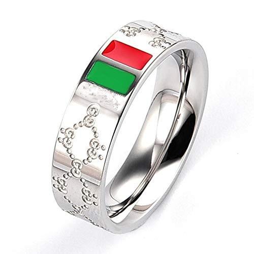 anillo de acero barra de titanio de color rojo y verde clá