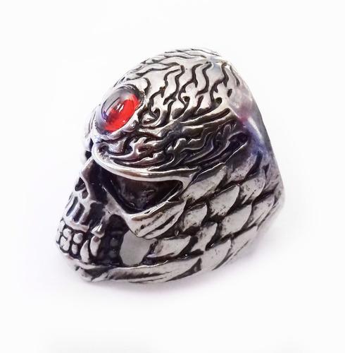 anillo de acero de calavera tribal piedra frontal skpalace