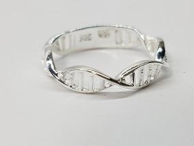 anillo de adn plata ley .925 joyeria