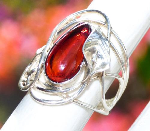 anillo de ámbar rojo & plata ley #7 / regalo ideal / ar6