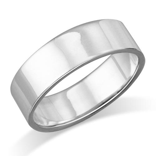 anillo de boda plana de plata de ley de 6 mm - tamaño 11