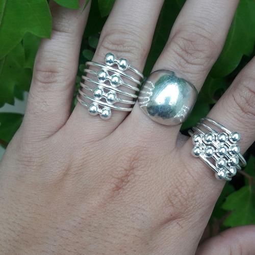 anillo de bolitas todo plata 925
