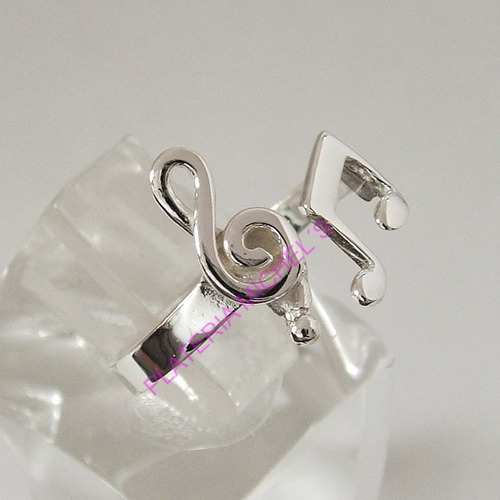 anillo de clave de sol y corchea en plata ley 0.925