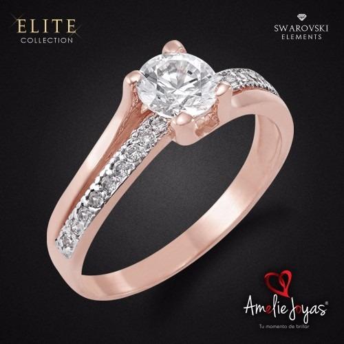 anillo de compromiso amelie joyas oro 14k c/swarovski
