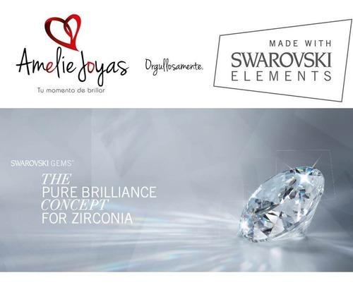 anillo de compromiso amelie joyas oro 14k swarovski elements