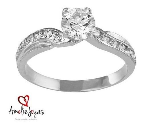 anillo de compromiso amelie joyas oro blanco 14k c/swarovski