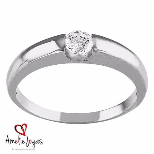 anillo de compromiso amelie joyas oro blanco 14k swarovski e