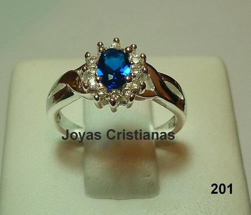 anillo de compromiso azul plata 925 con baño en oro blanco