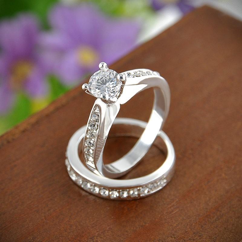 5a6c314f712a anillo de compromiso boda doble plata + baño oro blanco 10k. Cargando zoom.