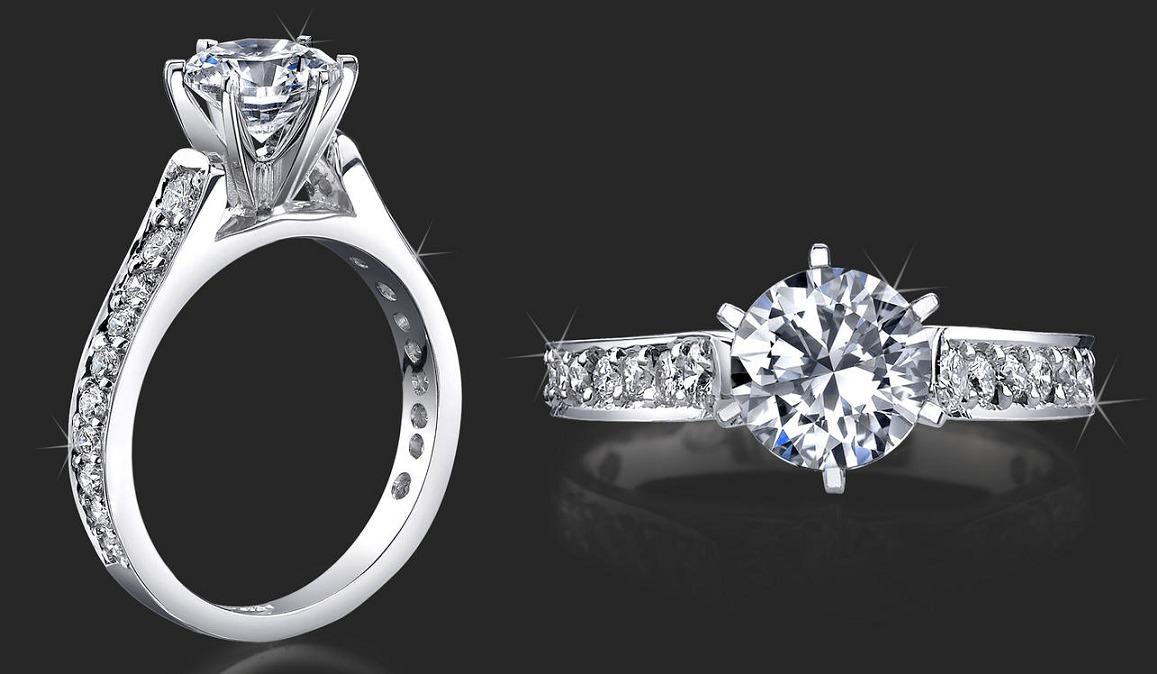 Anillo de compromiso con 21 diamantes y oro blanco 14k for Joyas banadas en rodio