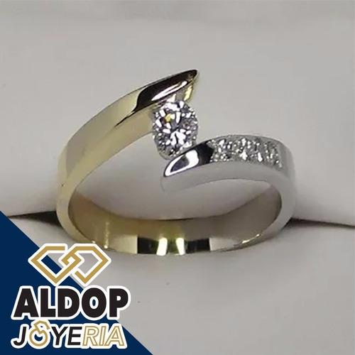 anillo de compromiso con baño de oro 18k