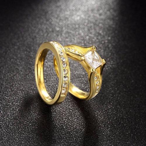 anillo de compromiso con baño de oro 18k y diamante zirconia