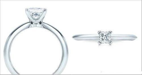 anillo de compromiso con diamante de .50 cts. corte princess