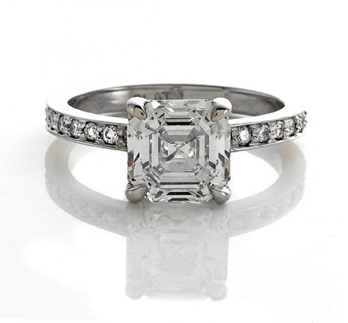 anillo de compromiso diamante de grafito asscher 1,5 ct