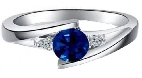 anillo de compromiso diamantes naturales y zafiro en 10kt