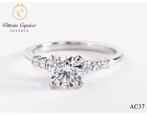 anillo de compromiso en plata 950 con zircones suizos- j.vc