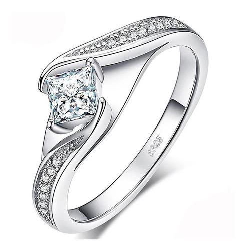 anillo de compromiso en plata rodinada zircon con estuche