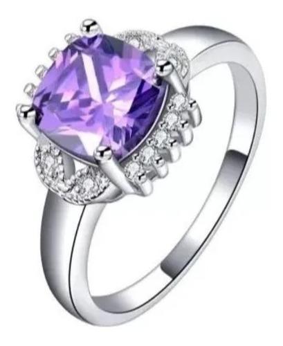 anillo de compromiso exquisito morado swarov element regalo