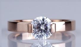 anillo de compromiso moda titanium tono oro rosa sz 6