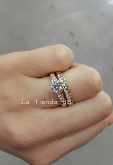 5ce2dd8c4673 Anillo De Compromiso Mujer Enchapado Oro Rosa 18k.joyas set - S  99 ...