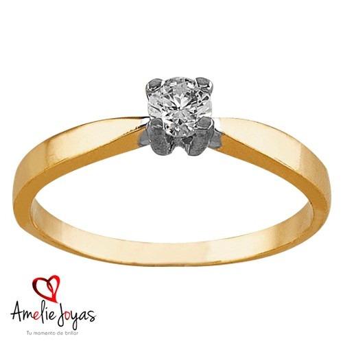 anillo de compromiso oro 14k diamante natural 15 puntos