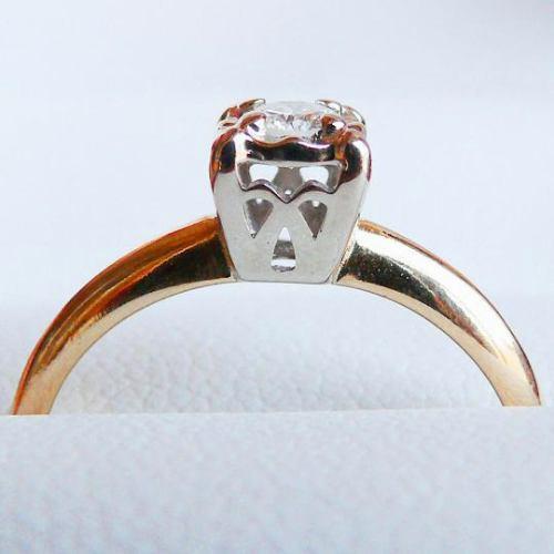 anillo de compromiso oro 14k y diamante natural 0.20 cts