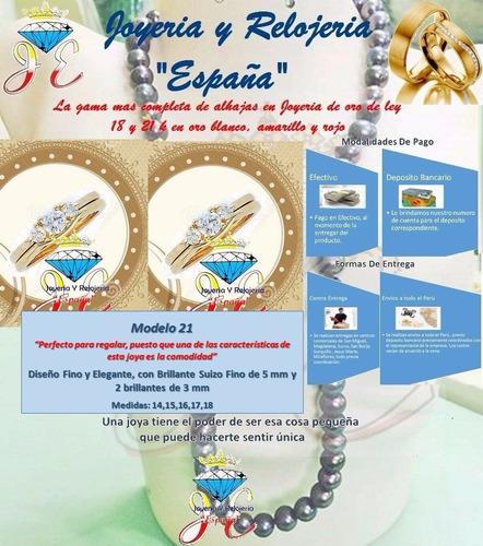 anillo de compromiso oro 18k brillante suizo mod 21  jespaña