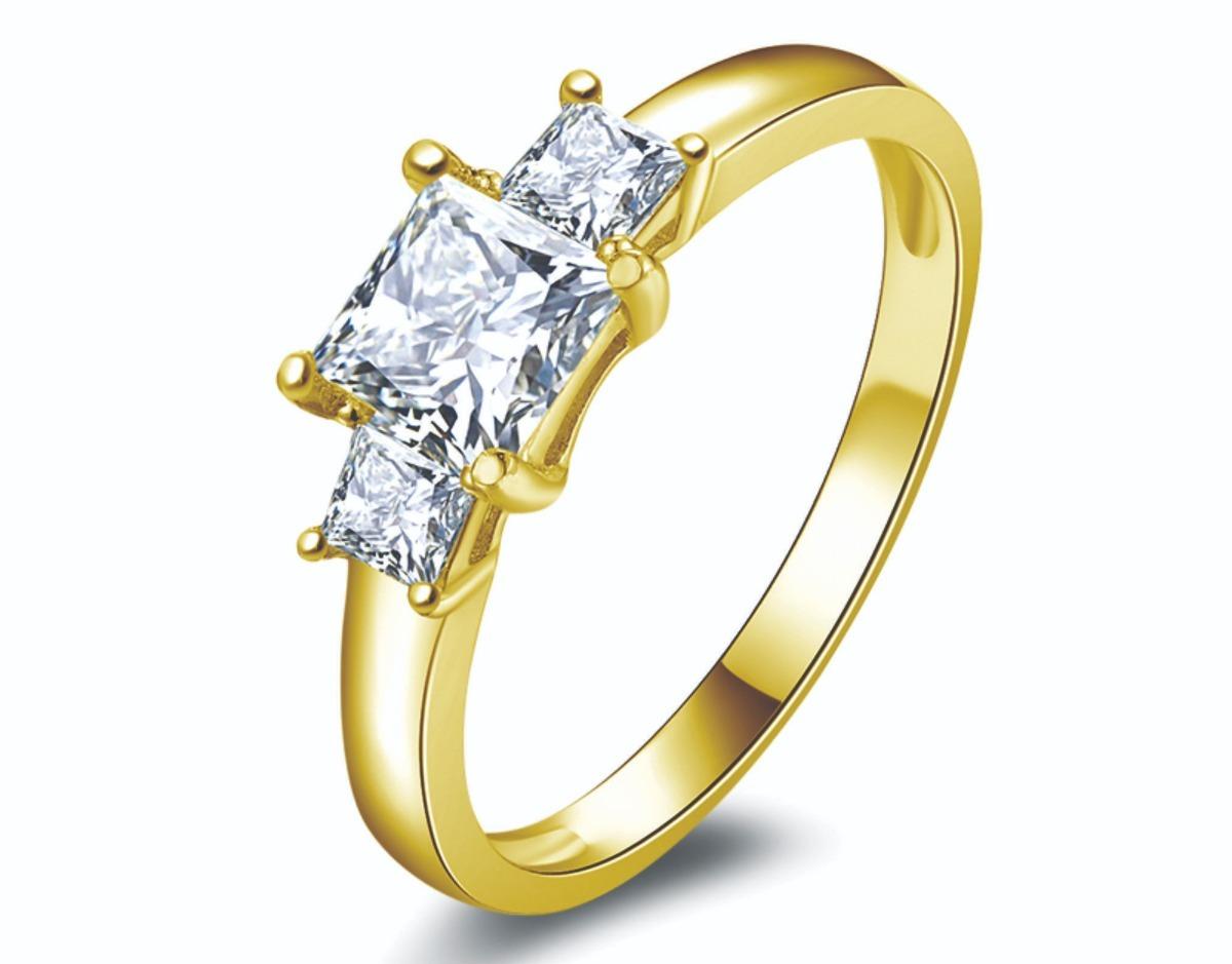6c2436edcebf anillo de compromiso oro amarillo corte princesa 14 kt ac208. Cargando zoom.
