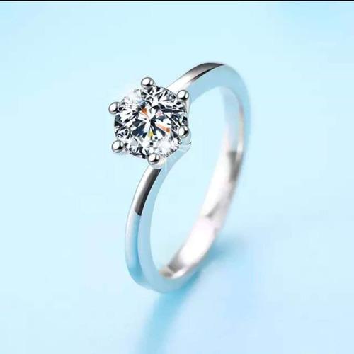 anillo de compromiso oro blanco 14k