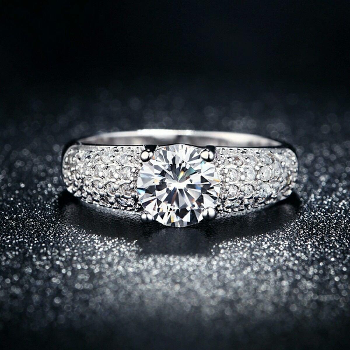 3011394a7c44 anillo de compromiso oro blanco 18k con cristales mujer. Cargando zoom.