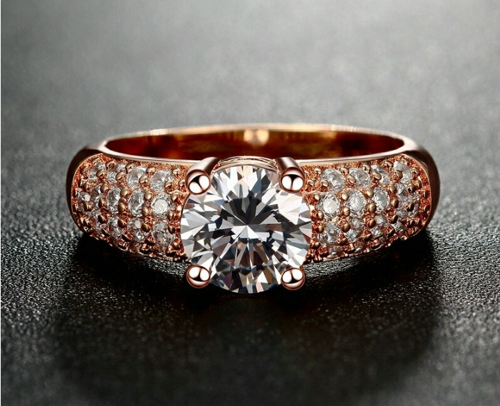 428263498665 Anillo De Compromiso Oro Rosa 18k Con Cristales Swarovski - S  99