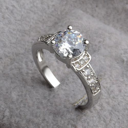 anillo de compromiso plata 925 solida sellado diamante cz