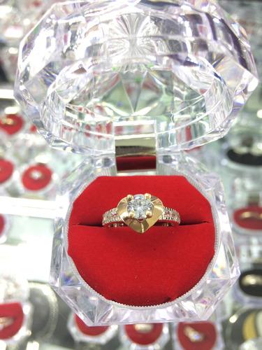 anillo de compromiso plata 950 con oro de 18kl