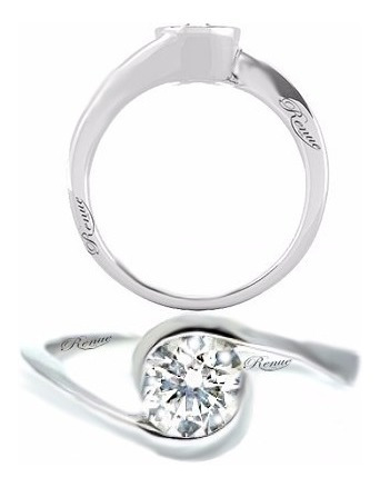 anillo de compromiso plata .950  matrimonio baño oro blanco