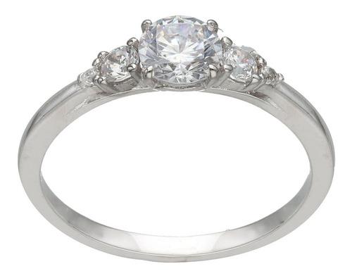 anillo de compromiso plata rodinada 925 con cúbic mod. 10366