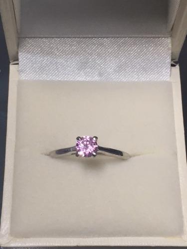 anillo de con diamante cultivado de .75 cts. rosa -75%