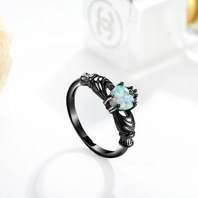 anillo de copromiso negro para mujeres tamaño 9