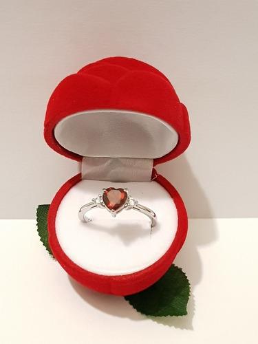 anillo de corazon cristal rojo para mujer talla 6 a 10 envio