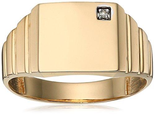 1ba4ba7233e6 Anillo De Diamante Cuadrado De Oro Amarillo De 10 K Para Hom ...