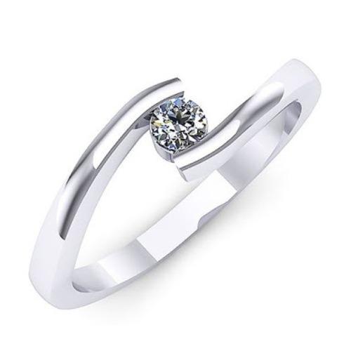anillo de diamante natural redondo 30 pts. y oro 14k