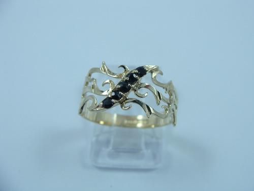 anillo de filigranas con zafiros naturales oro 14k hm4