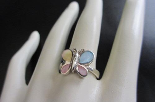 anillo de mariposa de plata con nacares (madre perla)