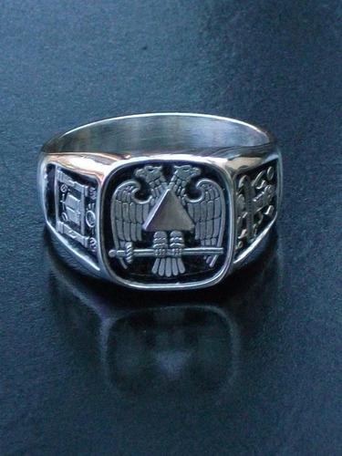 anillo de mason aguila bicefala grado 33 en plata.925