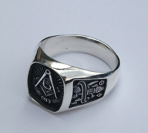 anillo de mason logias simbolicas en plata fina ley.925